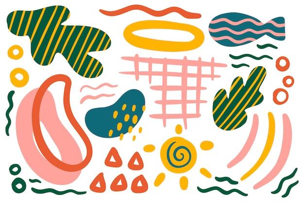 手描きの抽象的な有機図形背景
