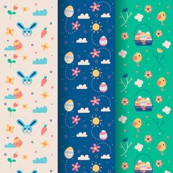 Пасха бесшовные рисованной с цветами и кроликами