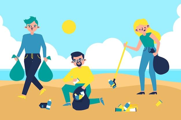 ビーチのイラストを掃除人