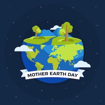 フラットなデザインの母地球の日イベントコンセプト