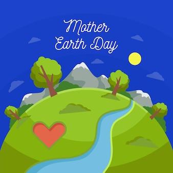 フラットデザインの母なる地球の日イベントデザイン