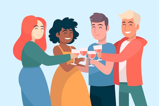 友達とワイングラスで乾杯