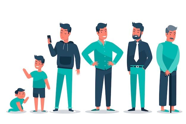 さまざまな年齢の男性と緑の服
