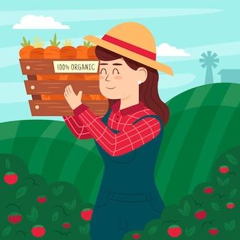 Концепция органического земледелия с коробкой моркови