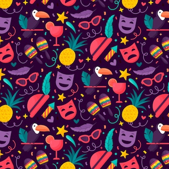Красочный плоский дизайн бразильский карнавал шаблон