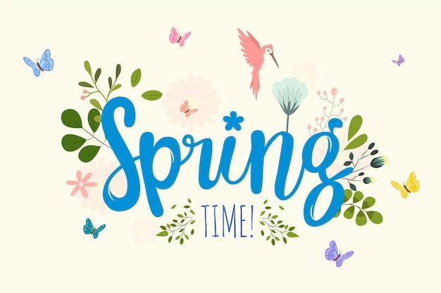 レタリングと春の背景