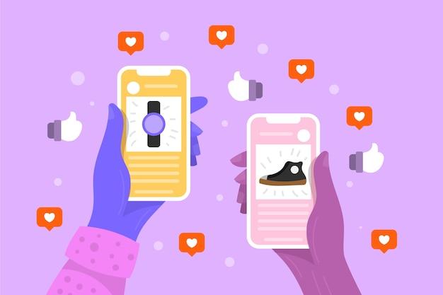 Тема маркетинга в социальных сетях с мобильного телефона