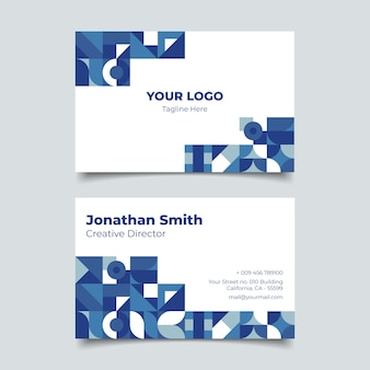 Абстрактный классический синий шаблон визитной карточки