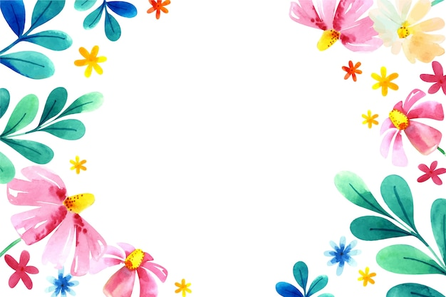 パステルカラーの水彩花