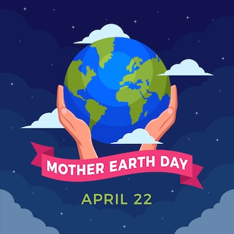 フラットなデザインの母なる地球の日のお祝い