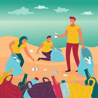 ビーチを掃除するイラストテーマの人々
