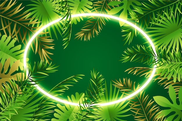 現実的なネオンフレームと葉