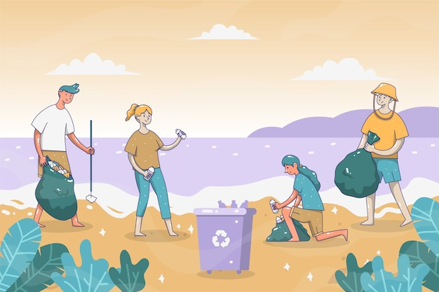 ビーチのテーマを掃除する人々