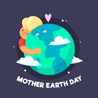 フラットなデザインの母なる地球の日