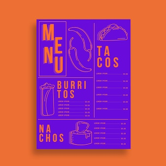 Шаблон меню мексиканского ресторана