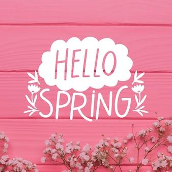こんにちは春のレタリングの写真