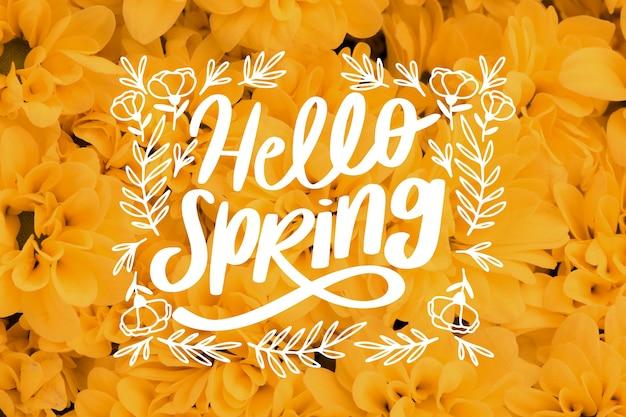 こんにちは春のレタリングと黄色の花の写真