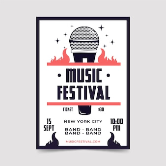 Шаблон флаера фестиваля ретро музыки