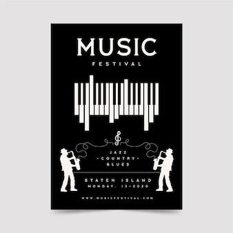Музыкальный фестиваль плакат с фортепиано