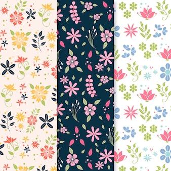 カラフルな花が咲くフラットデザイン春パターン