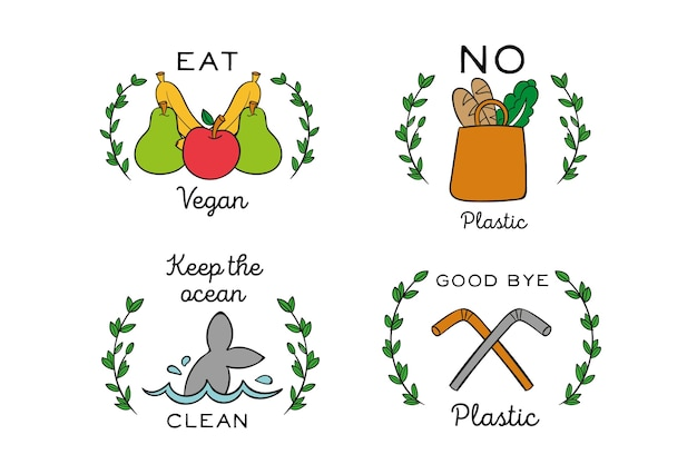 Тема рисованной экологии значки