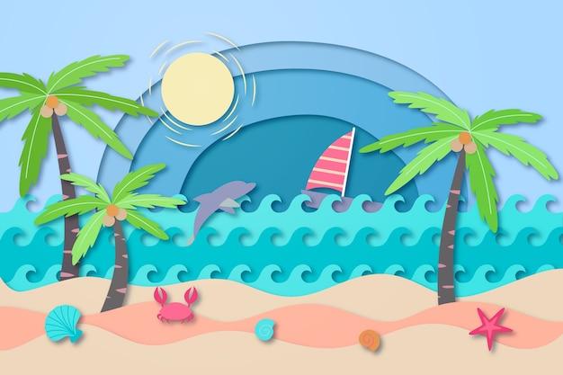 紙のスタイルでビーチコンセプト