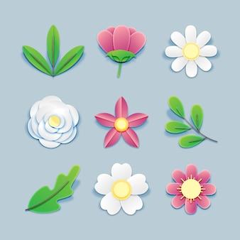 Коллекция бумаги стиля весенние цветы