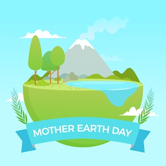 母なる地球の日のフラットの図