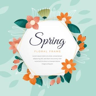 こんにちは、かわいい花のフレームで春レタリング