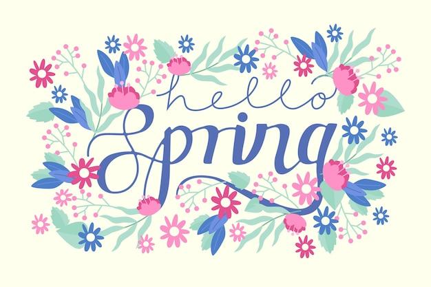 こんにちは春の花のコンセプトとレタリング