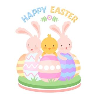 Плоский счастливый пасхальный день с кроликами