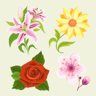手描きスタイルの春の花のコレクション