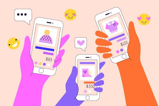 オンラインショッピングの携帯電話の概念
