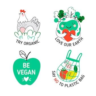Ручной обращается дизайн экологии значки