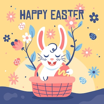Плоский дизайн пасхальный день смайлик кролик в корзине