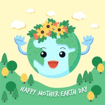 日光の下で緑の惑星と母なる地球の日