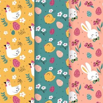 鳥とウサギのハッピーイースターシームレスパターンコレクション