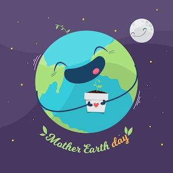 Плоский дизайн день матери-земли со счастливой планетой