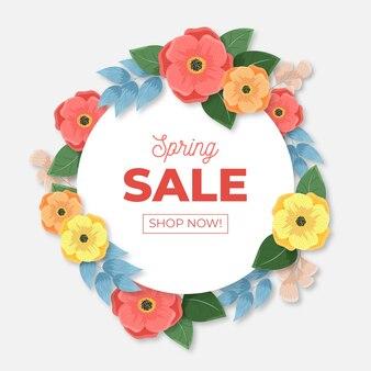Реалистичный стиль весенней распродажи с цветами