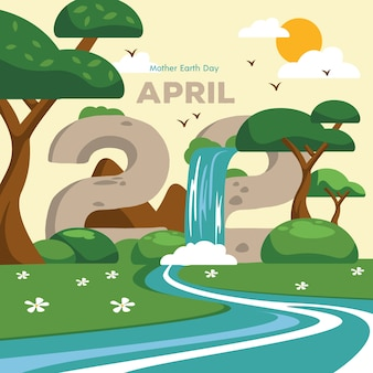 День матери-земли с водопадом