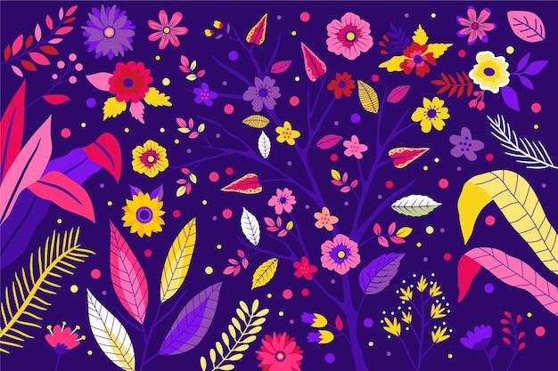 Элегантный шаблон фона с цветами и листьями