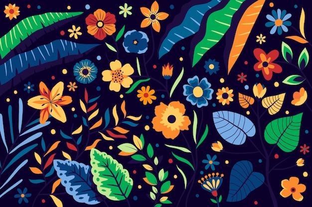 明るい色とりどりの花で背景花柄