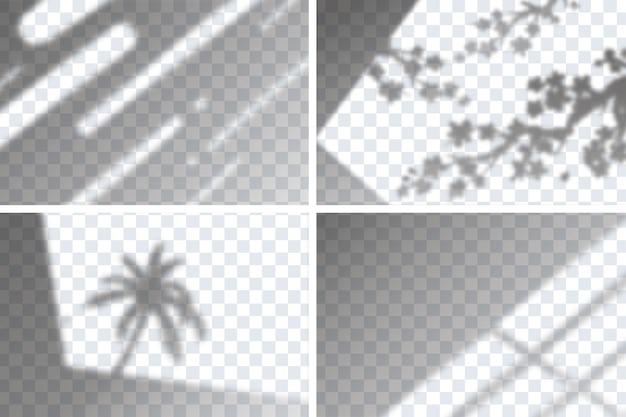 ブランディング用の透明なシャドウオーバーレイ効果のセット