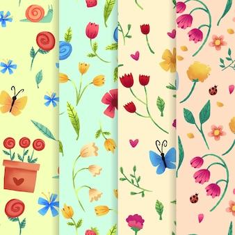 Акварельный весенний образец установлен с цветами тюльпана