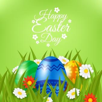 草の中の現実的な幸せなイースター日カラフルな卵
