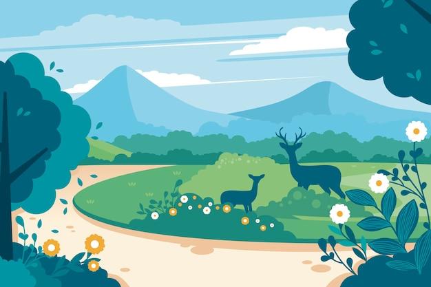 自然の風景の中の母と子の鹿