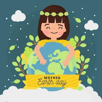 女性と植物の母なる地球の日