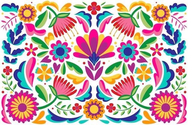 メキシコのフラットなデザインの抽象的な花の背景