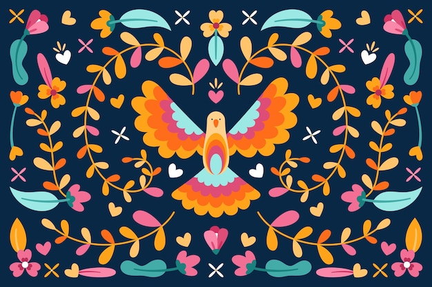 花とカラフルな平和の鳩とメキシコの背景