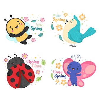 Симпатичные весенние значки с насекомыми и птицами